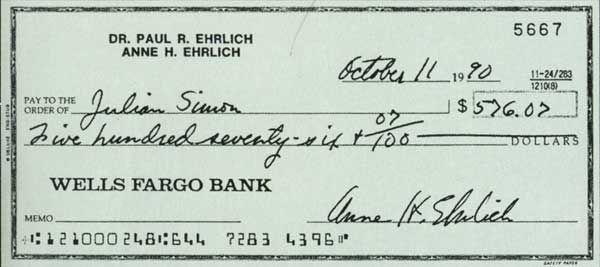 La curiosa apuesta de Ehrlich y Simon que nunca más se repitió