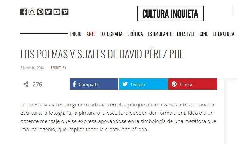 """Artículo """"Los poemas visuales de David Pérez Pol"""" en Cultura Inquieta del 2 de noviembre de 2018"""