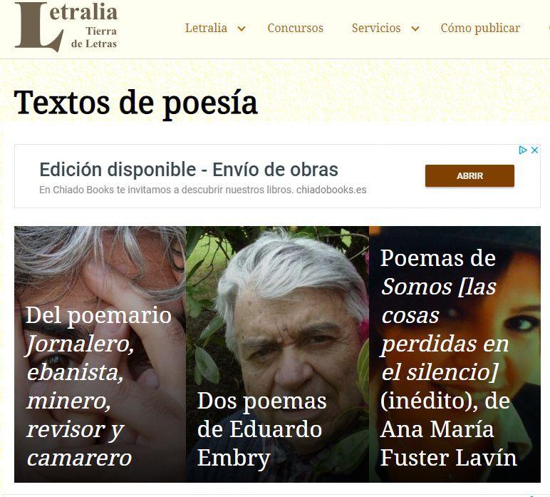 """Publicación de varios poemas en """"Letralia, tierra de letras"""" el 1 de febrero de 2019"""