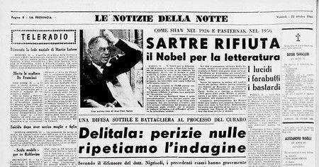 Carta de Jean-Paul Sartre rechazando el Premio Nobel de Literatura