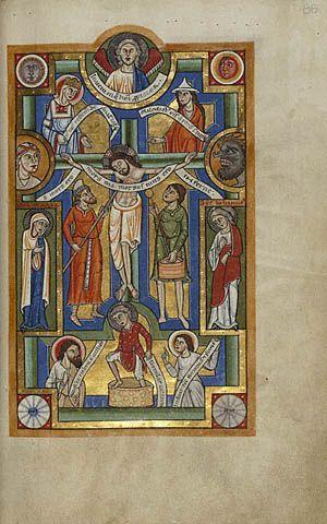 1160, Crucifixión en el Misal de Stammheim de la Abadía de San Miguel en Hildesheim (Alemania)
