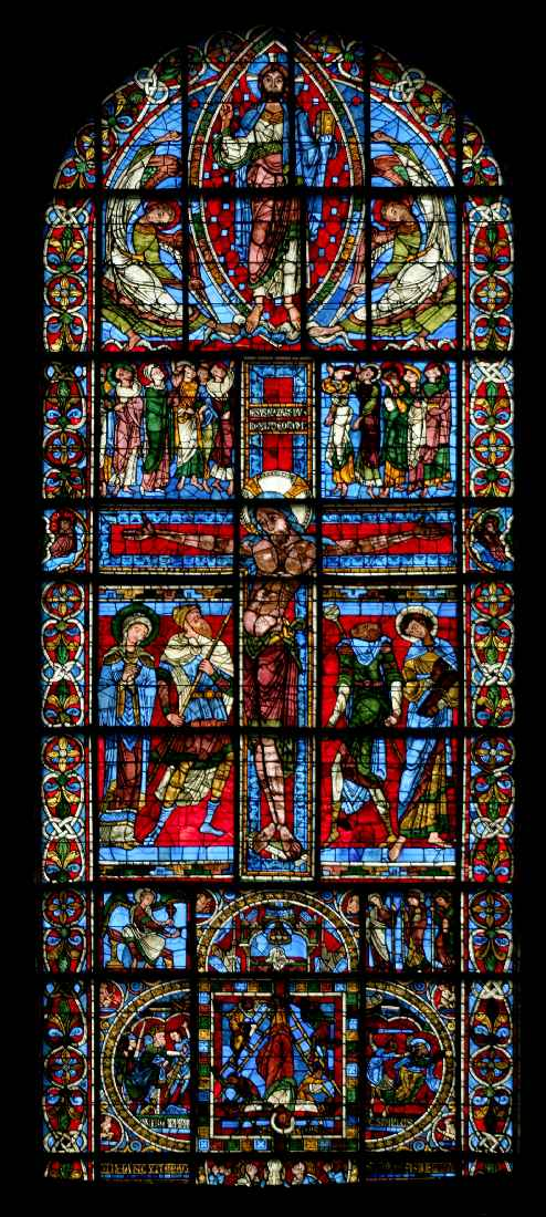 1165-1179, Crucifixión y Ascensión de Cristo en el vitral del ábside de la Catedral de Poitiers