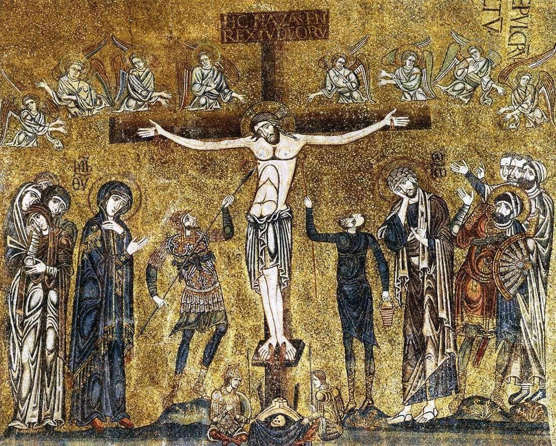 1200,Mosaico de La crucifixión de Cristo en la Basílica de San Marco (Venecia)