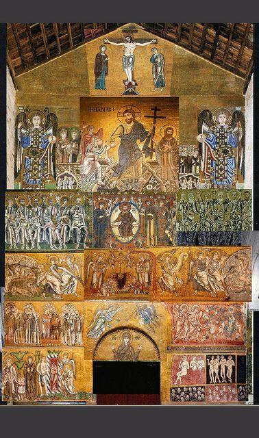 1200, Crucifixión en el mosaico del muro occidental (sobre la puerta) de laBasílica de Santa María Asunta de Torcello (Venecia).