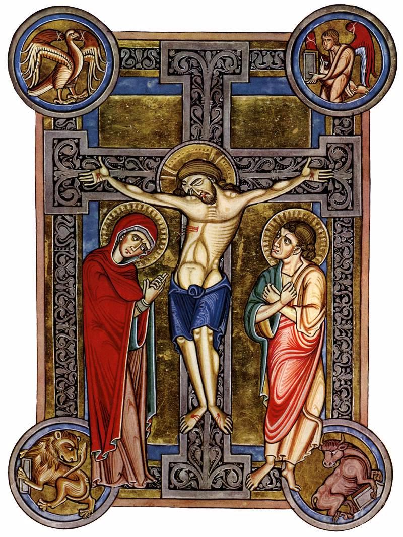 1200-1216, Crucifixión bizantina en la Biblia de la Abadía de Weingarten (Misal de Weingarten) por el Maestro del Misal de Berthold.