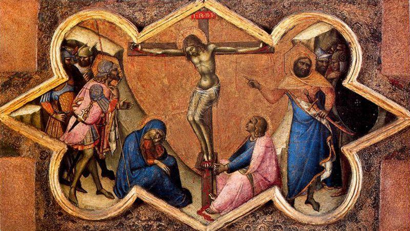 1362, La crucifixión de Luca di Tommè en el Pinacoteca Vaticana
