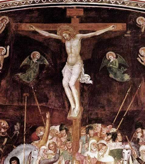 """1368, """"Crucifixión, Cristo cargando la cruz y Cristo en el limbo"""" de Andrea Bonaiuti (Andrea da Firenze)"""