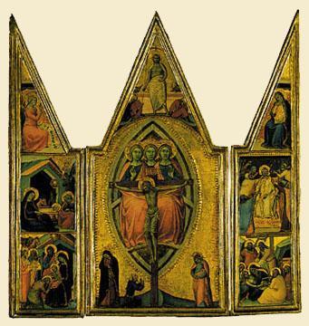 1355, La Trinidad y la crucifixión, con escenas de la vida de Cristo de Luca di Tomme (TiMken Museum of Art, San Diego)