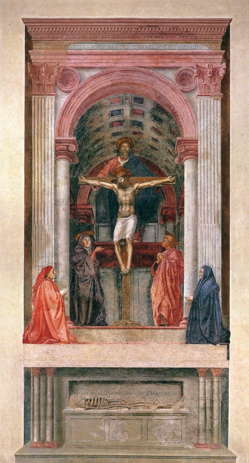 1425-28, Santa Trinidad de Masaccio en la Iglesia de Santa María Novella de Florencia