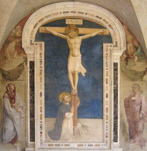 1441-42, Santo Domingo adorando la crucifixión de Fra Angelico (Guido di Pietro) en la Basílica de San Marcos (Florencia)