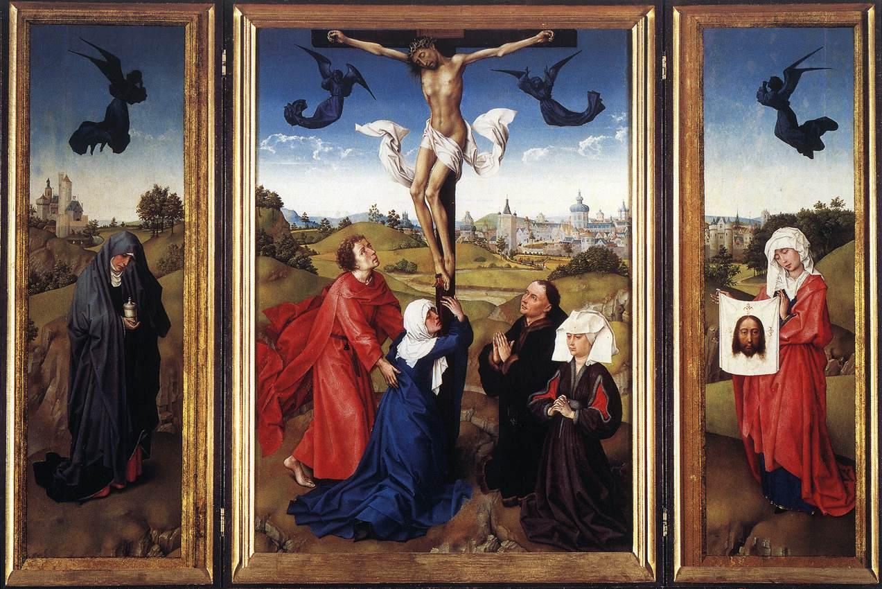 1443-45, Tríptico: Crucifixión de Rogier van der Weyden en el Museo de Historia del Arte de Viena