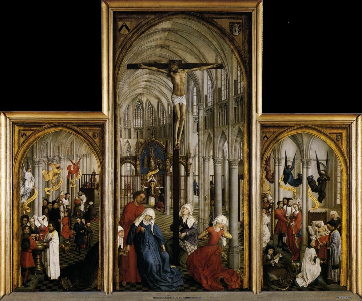 1440-45, Tríptico de los Siete Sacramentos de Rogier van der Weyden en el  Museo Real de Bellas Artes de Amberes (Bélgica)