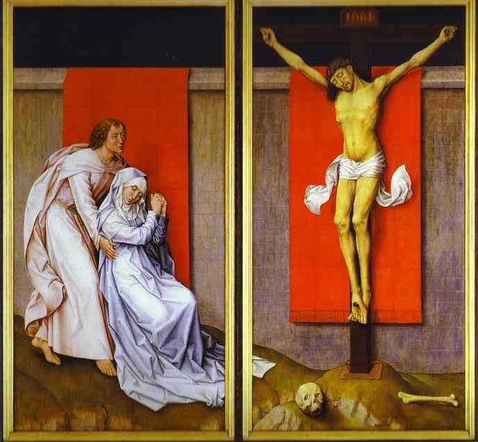 1460, La Crucifixión con la Virgen y San Juan Evangelista de luto de Rogier van der Weyden en el Museo de Arte de Filadelfia