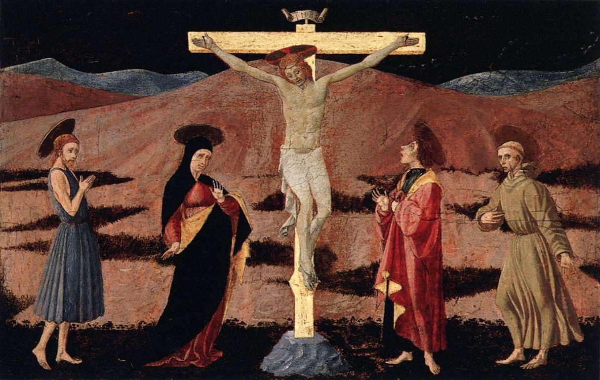 1460-65, La Crucifixión con la Virgen, los santos Juanes y san Francisco de Paolo Uccello en el Museo Nacional Thyssen-Bornemirsza