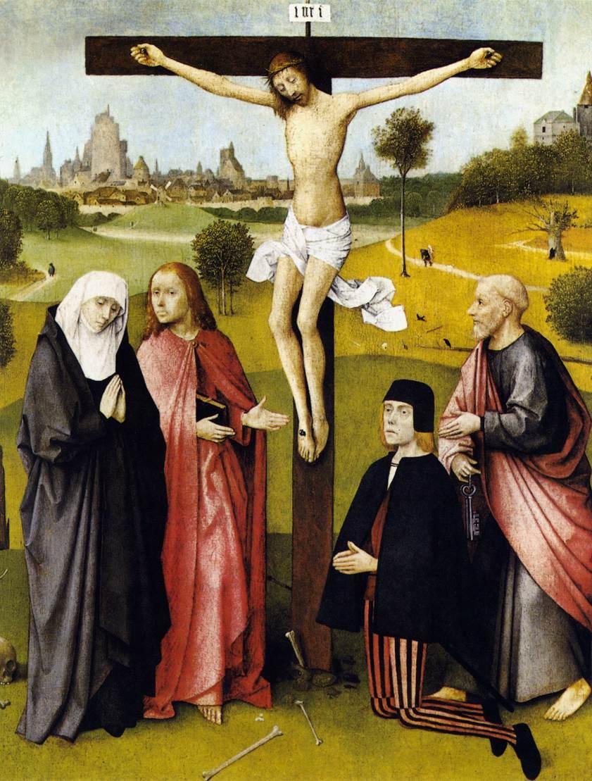 1485-90, Crucifixión con un donante de Hyeronymus Bosch en el Museo Real de Bellas Artes de Bruselas (Bélgica)