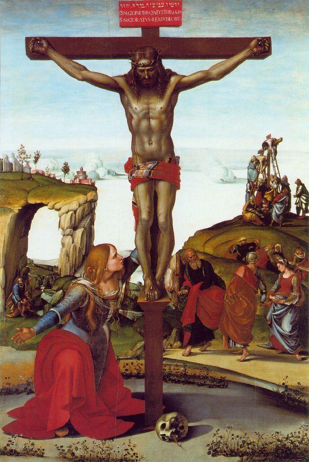 1505, Cristo en la cruz con María Magdalena de Luca Signorelli en la Galleria degli Uffizi de Florencia