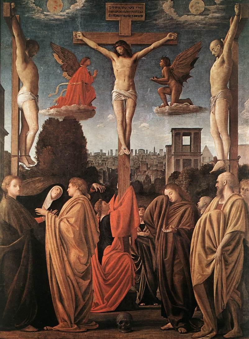 1510-1525, Crucifixión de Bramantino (Bartolomeo Suardi) en la Pinacoteca de Brera