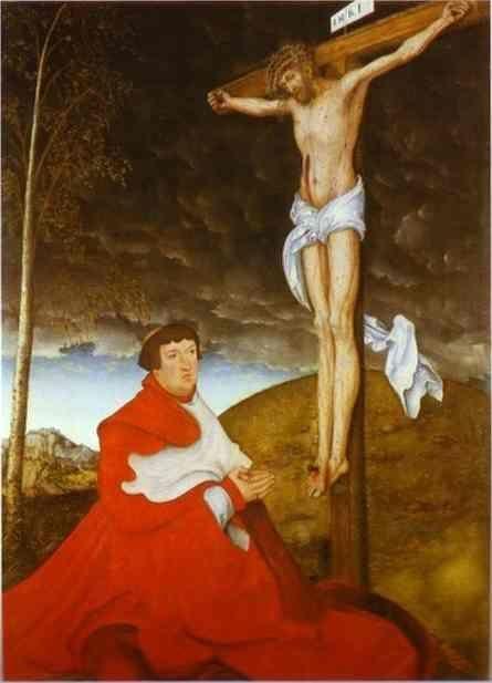 1520-25,  El Cardenal Albrecht de Brandeburgo se arrodilla ante Cristo en la cruz de Lucas Cranach el Viejo