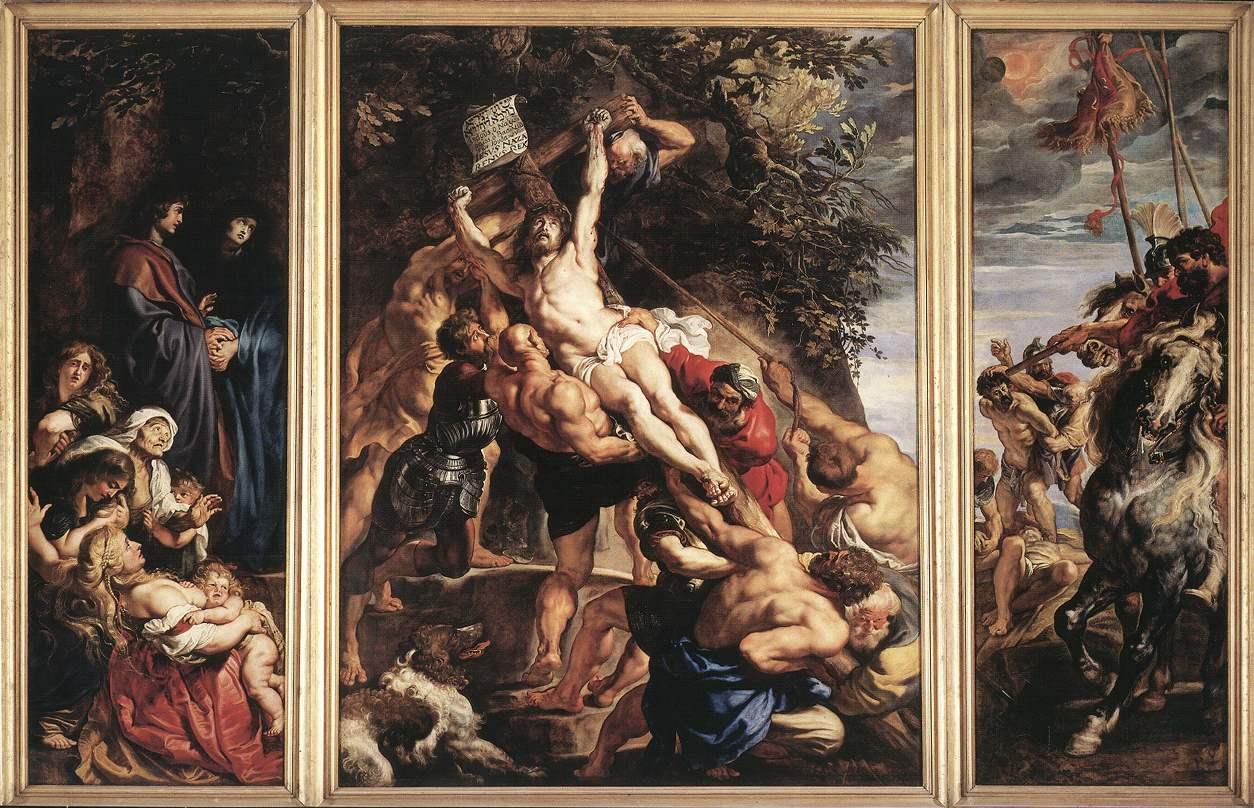 1610-11, La elevación de la cruz, tríptico de Peter Paul Rubens en la Catedral de Amberes de Bélgica