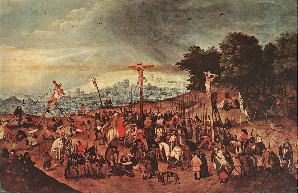 1617, La Crucifixión en el Calvario de Pieter Brueghel el Joven
