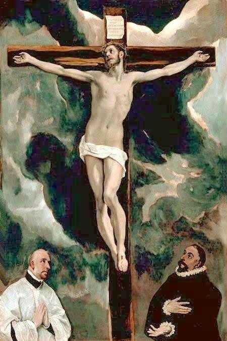 1580, Cristo en la cruz adorado por donantes de El Greco en el Museo del Louvre de París