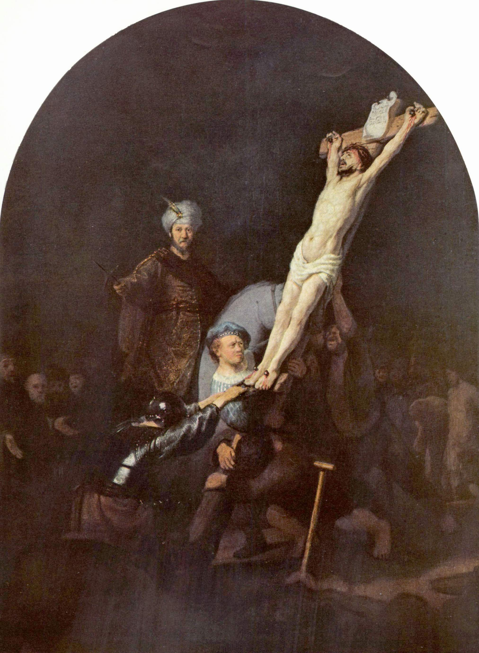 1633, La erección de la Cruz de Rembrandt van Rijn en la Alte Pinakothec, Bayerische Syaatsgemaldesammlingen (Munich)