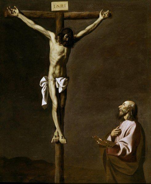 1630-39, San Lucas como pintor, ante Cristo en la Cruz de Francisco de Zurbarán en el Museo del Prado de Madrid