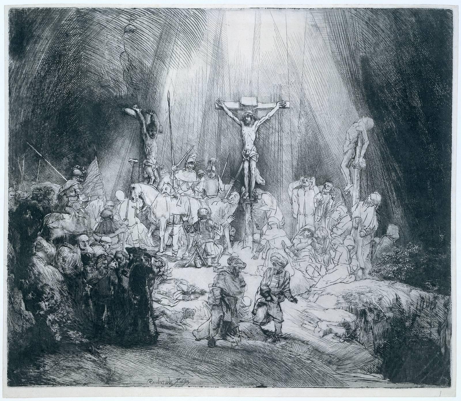 1653, Las tres cruces de Rembrandt van Rijn en el Museo de Bellas Artes de Boston