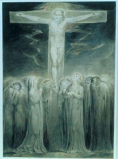 1805, La Crucifixión: 'He aquí a tu madre' de William Blake en la Tate Gallery