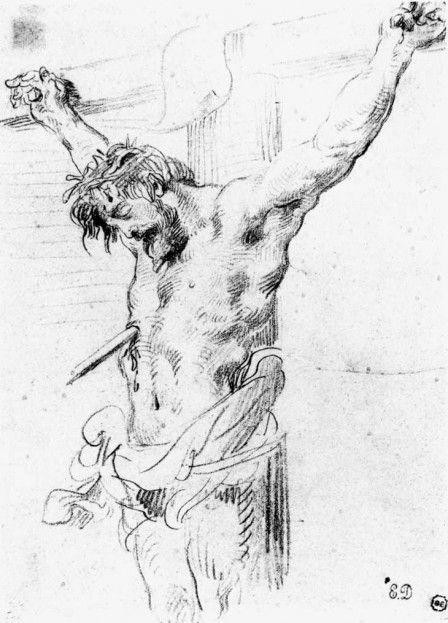 1839, Cristo en la Cruz de Eugène Delacroix (estudio según la Lanzada de Rubens)