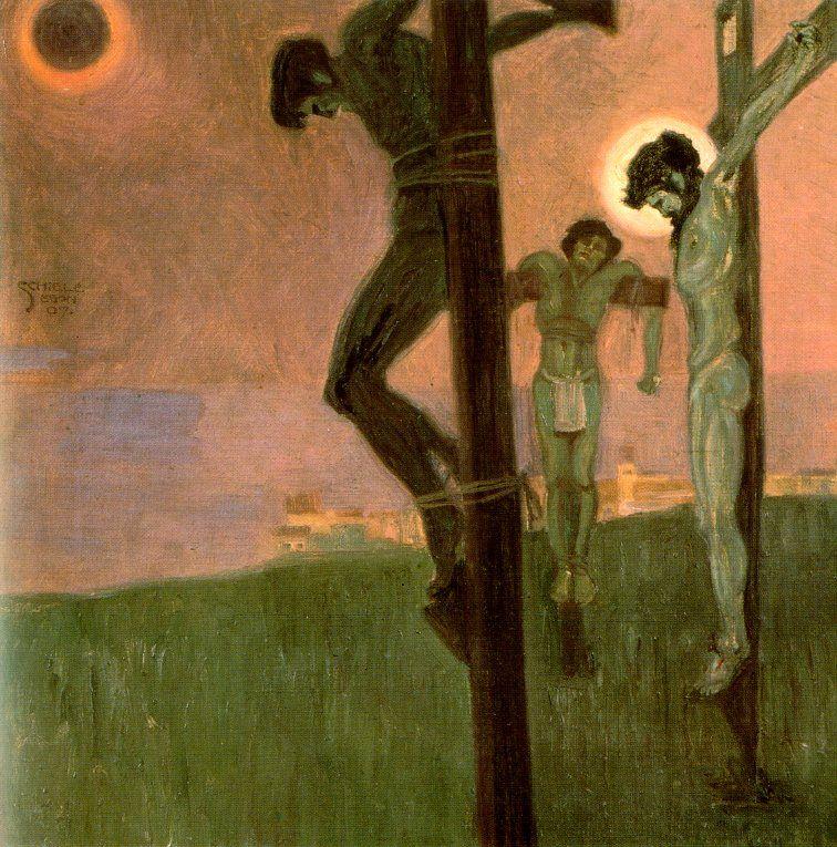 1907, Crucifixión con eclipse de sol de Egon Schiele