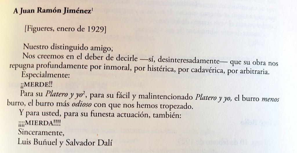 Carta de Buñuel y Dalí a Juan Ramón Jiménez
