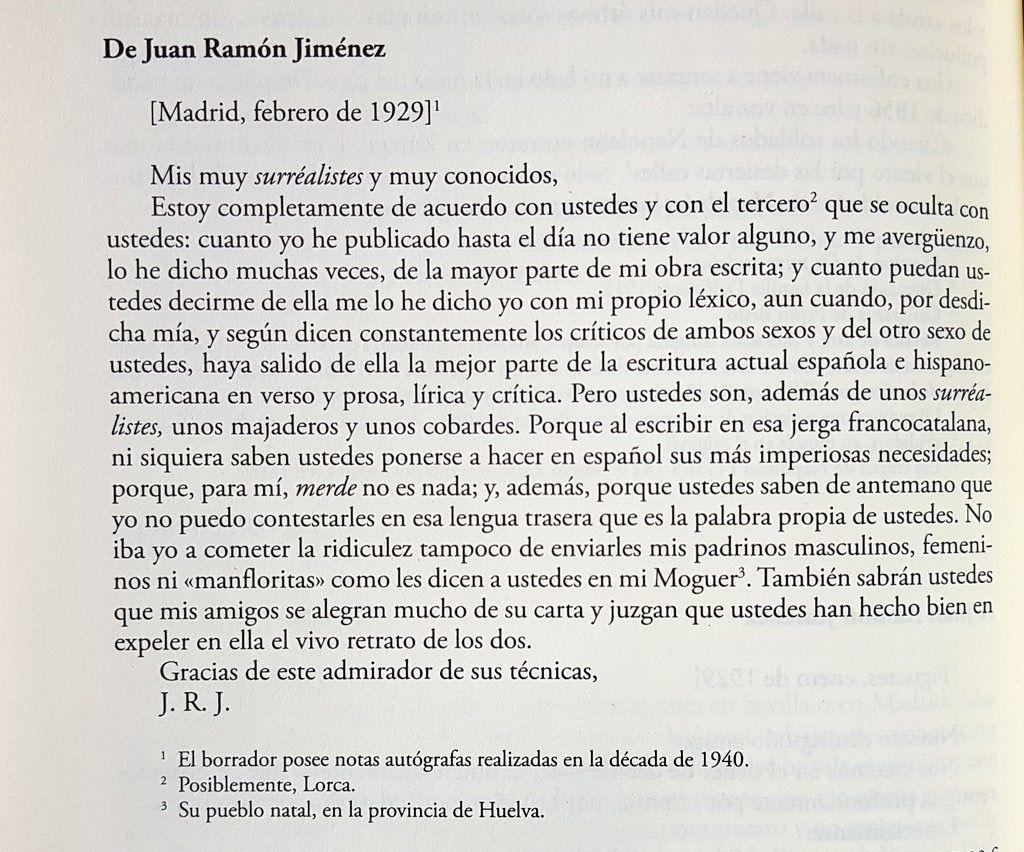 Respuesta de Juan Ramón Jiménez
