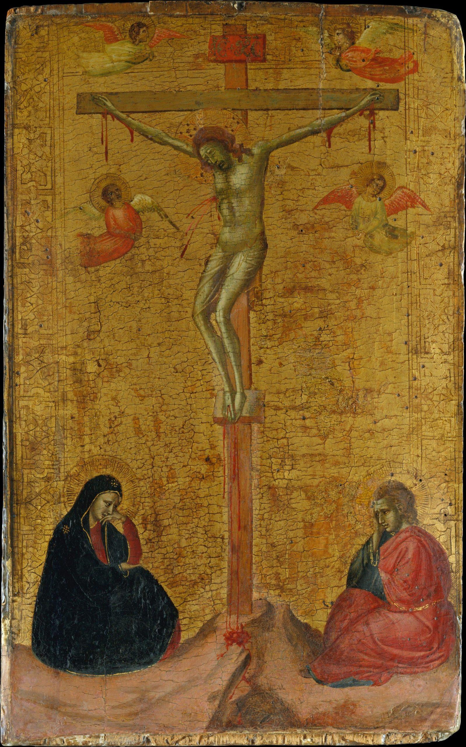 1325-30, La crucifixión de Bernardo Daddi (témpera sobre madera, fondo dorado)