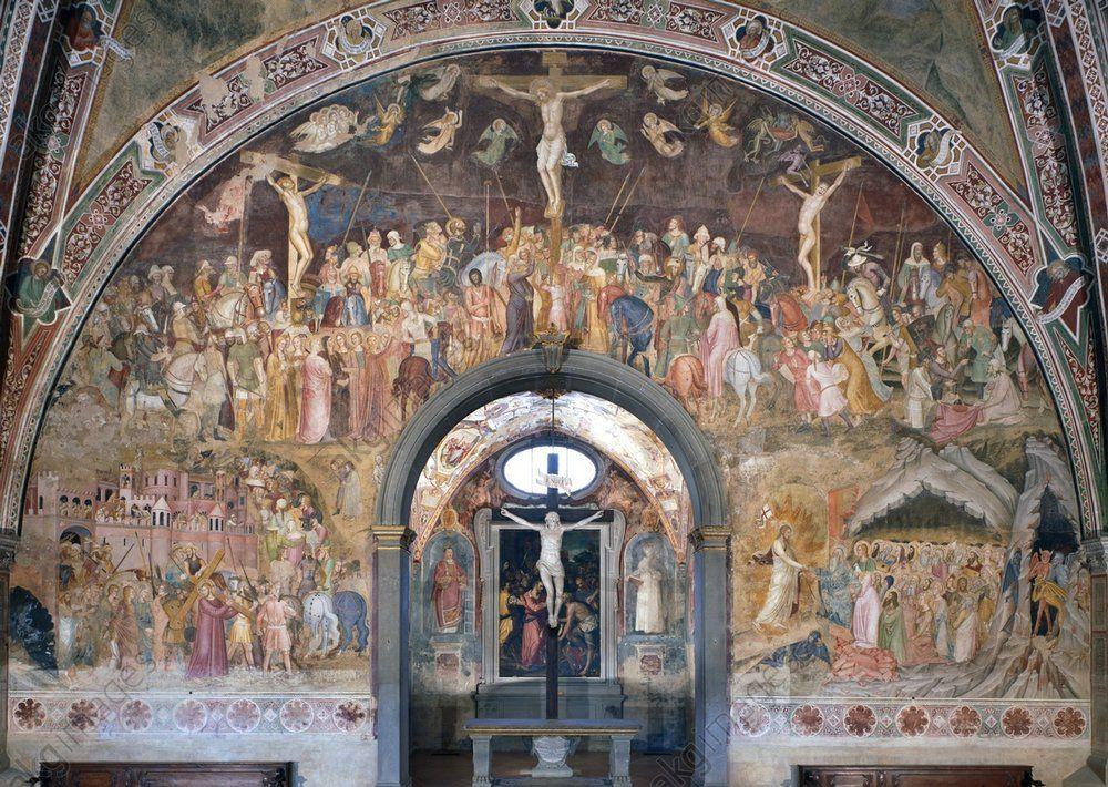 """1365, """"Crucifixión, Cristo cargando la cruz y Cristo en el limbo"""" de Andrea Bonaiuti (Andrea da Firenze)"""