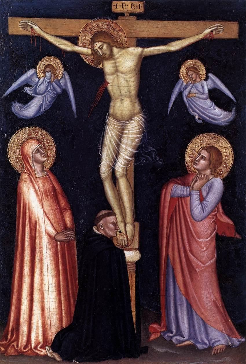 1370-77, Crucifixión de Andrea Bonaiuti (Andrea da Firenze) en la Pinacoteca del Vaticano