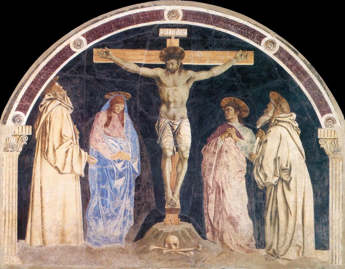 1455, Crucifixión de Andrea del Castagno para el convento de Santa Maria degli Angeli (hoy en Santa Apollonia, Florencia)