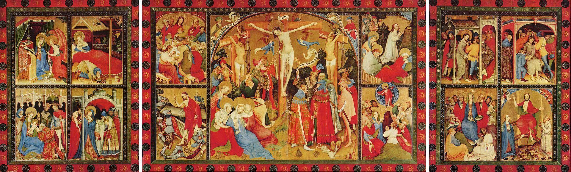 1403, Altar de la Pasión de Cristo de Conrad von Soest en el altar de la Iglesia Evangelista de San Nicolás en Bad Wildungen