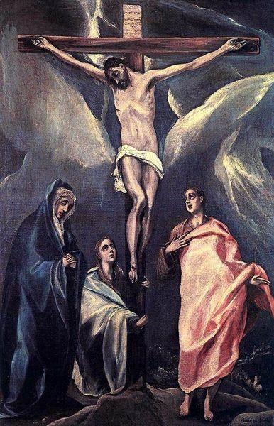 1588, Cristo en la cruz con las dos Marías y San Juan de El Greco en la Galería Nacional de Atenas (Grecia)