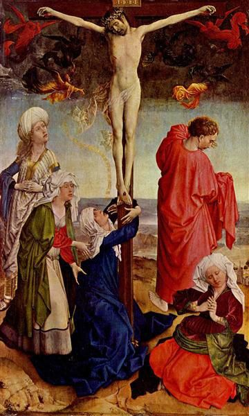 1425, Crucifixión de Robert Campin en el Gemäldegalerie de Berlín