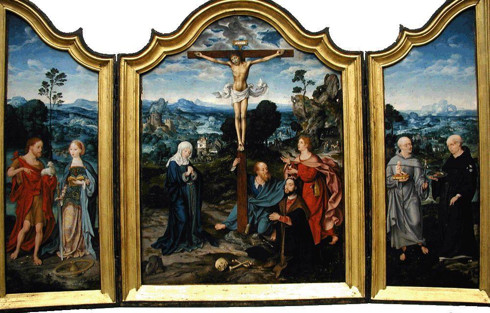 15??, Crucifixión con santos y un donante de Joos van Cleve en el Museo Metropolitano de Arte