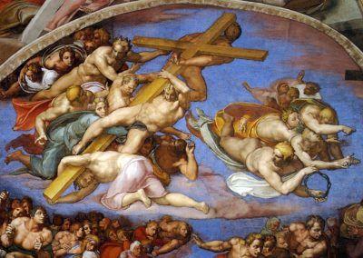 1534-41, Juicio final de Michelangelo Buonarroti en la Capilla Sixtina de la Ciudad del Vaticano (Roma)