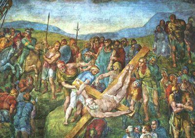 1546-50, Martirio de San Pedro de Michelangelo Buonarroti en la Capilla Paolina del Palazzi Pontifici del Vaticano