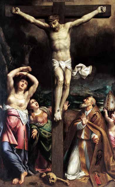 1566-68, Crucifixión con Santos de Bernardino Gatti en la Catedral de Parma