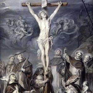 1652, Cristo en la Cruz adorado por ocho santos dominicos de Abraham van Diepenbeeck en el Museo del Louvre (París)
