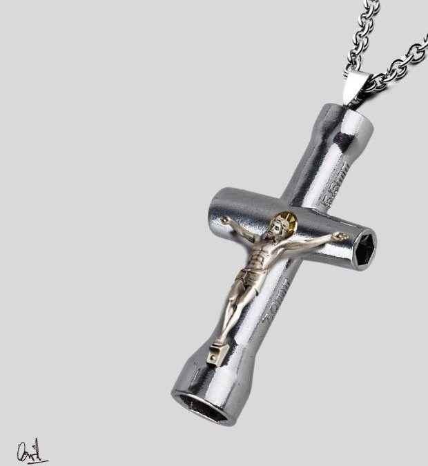 El crucifijo del mecánico, pintura digital