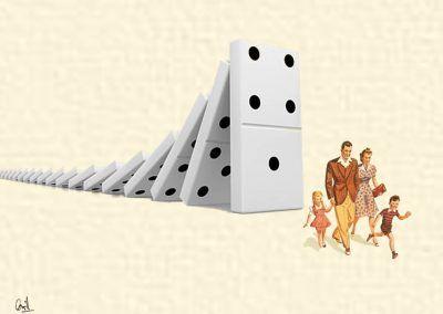 Efecto dominó, fotomontaje de David Pérez Pol