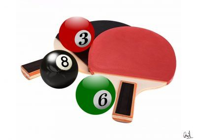 Ping pong americano, fotomontaje de David Pérez Pol