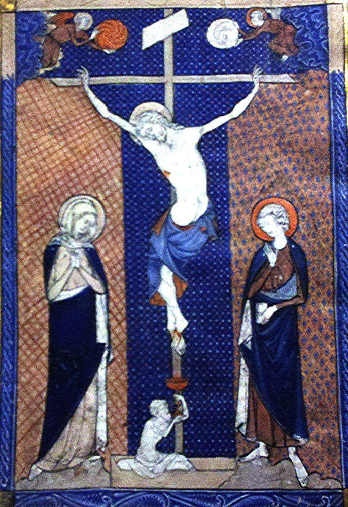 1270-80, Hoja manuscrita de Misal con la Crucifixión (anónimo), en el Metropolitan Museum of Art