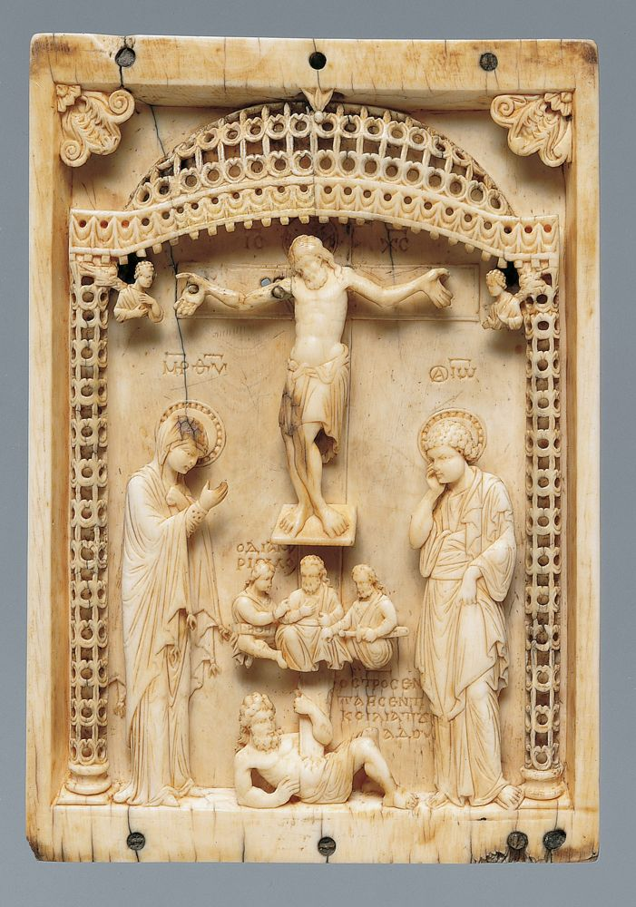 950, Icono bizantino con la Crucifixión (anónimo) en el MET de NY
